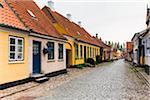 Colourful Houses in Cobblestone Alley, Aeroskobing, Aero Island, Jutland Peninsula, Region Syddanmark, Denmark