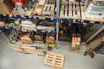Goods on shelves in warehouse
