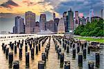 New York City, USA city skyline on the East River.
