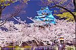 Osaka, Japan at Osaka, Castle with cherry blossoms.