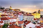 Lisbon, Portugal cityscape  at the Alfama district at dawn.