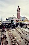 View of King street railway station and Centurylink Field stadium, Seattle, Washington State, USA