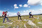 Women hiking in mountains