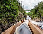 Train bridge over stream