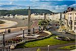 Coastal shoreline with War Memorial Obelisk, Llandudno, Conwy County, Wales, United Kingdom