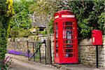 Phone box on street, Stanton, Gloucestershire, The Cotswolds, England, United Kingdom