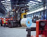 Rolls of steel being loaded in port