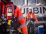 Portrait of offshore windfarm engineer apprentice in port