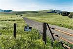 Dirt track and no trespass sign, Santa Barbara, California, USA
