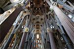 Sagrada Familia basilica pillars and stained glass. Barcelona. Spain.