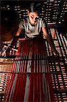 "Camdodia, Ratanakiri Province, Phomkres village, Sendan Kandan weaves a traditional blanket called ""puy"""