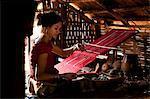 "Camdodia, Ratanakiri Province, Phomkres village, Pel Nou weaves a traditional blanket called ""puy"""