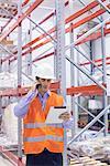 Engineer working in warehouse