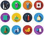 Set of bathroom icons in flat design