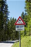 Slippery When Wet Sign, Upper Austria, Austria