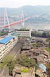 View of Chongqing and the Twin River Bridge, Chongqing, China