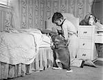 1950s BOY & DOG PRAYING AT BEDSIDE
