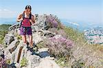 Female hiker walking ridge on way to Daecheongbong peak,  Seoraksan National Park in South Korea