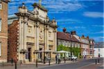 Street scene with the theatre venue, King's Lynn Corn Exchange, King's Lynn, Norfolk, England, United Kingdom