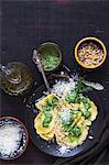 Ravioli with rocket pesto, Parmesan and pine nuts