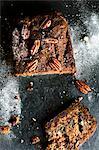 Banana, chocolate and pecan nut bread, sliced