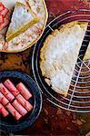 Pistachio cake with slow roasted rhubarb