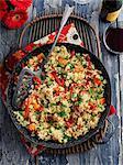 Vegetable paella in a pan