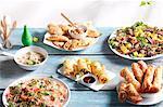 Spring rolls, patties and salads