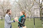Couple sharing lunch, New York, New York, USA