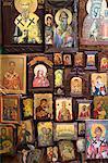 Greek Orthodox religious icons in souvenir and gift shop in Kerkyra, Corfu Town, Corfu, Greek Islands, Greece, Europe