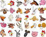 Cartoon Illustration of Funny Farm Animals Heads Big Set