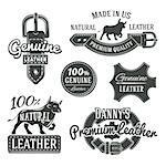 Set of vector vintage leather belt logo designs, retro quality labels. genuine leather illustration