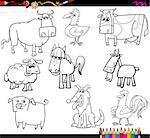 Coloring Book Cartoon Illustration Set of Farm Animals Characters