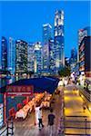 Restaurants and Bars along Boat Quay beneath Skyline at Dusk, Central Region, Singapore
