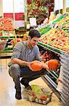 Man shopping in an organic grocery store