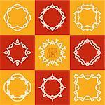 Set of abstract hipster emblems logo frames. Vector illustration