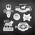 Set of leather quality goods vector designs. Vintage belt logo, retro labels. genuine leather illustration on dark background.