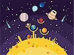 Solar system flat style. Venus mars saturn jupiter uranus neptune mercury moon pluto and earth. Vector illustration