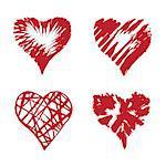 Vector hearts set. Hand drawn illustration. Design elements. Abstract shape