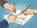 workshop business hands chart success retro style pop art