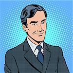 Businessman listens concept retro style pop art