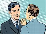 Dialogue conversation businessmen retro style pop art