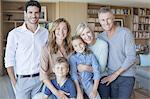 Portrait of family in living room