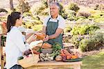 Smiling brunette customer buying vegetables