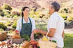Smiling brunette farmer selling vegetables and bread