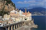 Church of Santa Maria Maddalena, town and beach, Atrani, Costiera Amalfitana (Amalfi Coast). UNESCO World Heritage Site, Campania, Italy, Europe