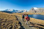 Hikers wallking along Rosset Lake, Gran Paradiso National Park, Alpi Graie (Graian Alps), Italy, Europe