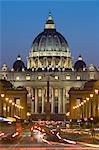St. Peter's Basilica viewed along Via della Conciliazione at night, Rome, Lazio, Italy, Europe