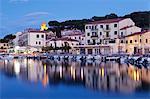 Harbour with Torre della Marina, Marina di Campo, Island of Elba, Livorno Province, Tuscany, Italy, Europe