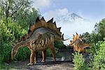 Stegosaur dinosaurs, computer illustration.